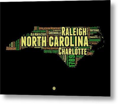 North Carolina Word Cloud Map 1 Metal Print by Naxart Studio