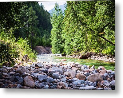 North Cascades Rivers And Rocks Landscape Photography By Omashte Metal Print by Omaste Witkowski