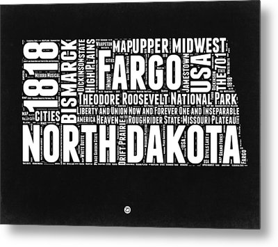 North Dakota Black And White Map Metal Print