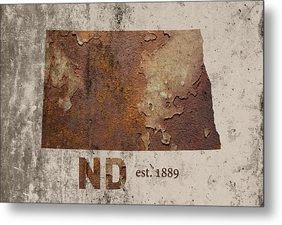 North Dakota State Map Industrial Rusted Metal On Cement Wall With Founding Date Series 025 Metal Print by Design Turnpike