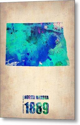 North Dakota Watercolor Map Metal Print by Naxart Studio