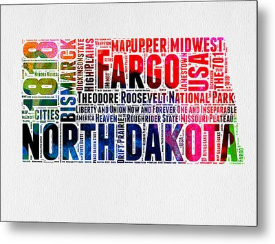 North Dakota Watercolor Word Cloud  Metal Print
