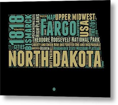 North Dakota Word Cloud 1 Metal Print