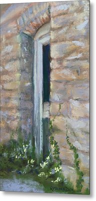Metal Print featuring the pastel North Hill Alley Door by Rebecca Matthews