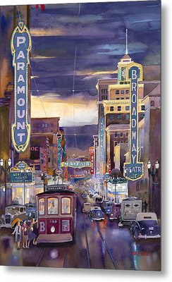 North On Broadway 1940 Metal Print by Mike Hill