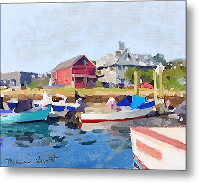 North Shore Art Association At Pirates Lane On Reed's Wharf From Beacon Marine Basin Metal Print by Melissa Abbott