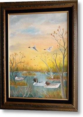 Metal Print featuring the painting Northen Pintails by Al  Johannessen