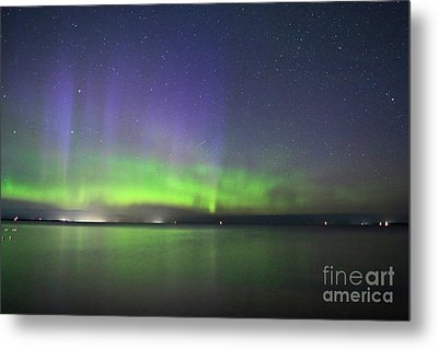 Northern Light With Perseid Meteor Metal Print by Charline Xia