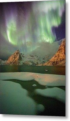 Northern Lights Above Olstinden Metal Print