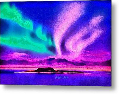 Northern Lights In Alaska Metal Print