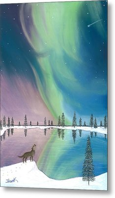Northern Lights The Wolf And The Comet  Metal Print by Jackie Novak