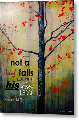 Not A Leaf Falls Metal Print by Salwa  Najm