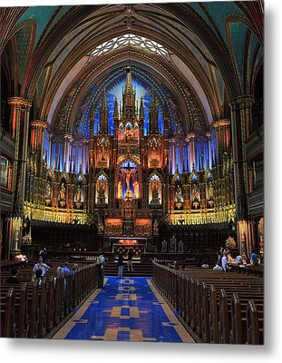 Notre Dame Basilica Montreal City Metal Print by Pierre Leclerc Photography