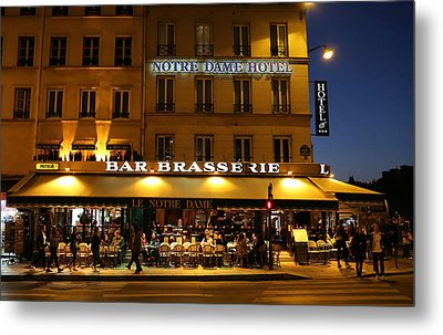 Metal Print featuring the photograph Notre Dame Cafe by Andrew Fare