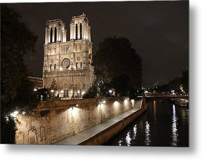 Metal Print featuring the photograph Notre Dame Cathedral From Petit Pont by Christopher Kirby