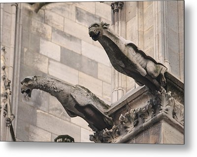 Metal Print featuring the photograph Notre Dame Cathedral Gargoyles by Christopher Kirby