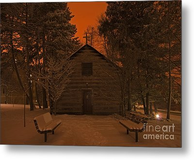 Notre Dame Log Chapel Winter Night Metal Print by John Stephens