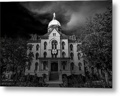 Metal Print featuring the photograph Notre Dame University Black White 3a by David Haskett
