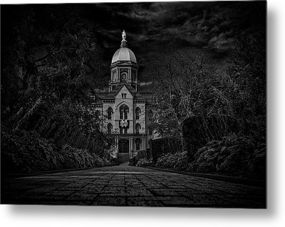 Metal Print featuring the photograph Notre Dame University Golden Dome Bw by David Haskett