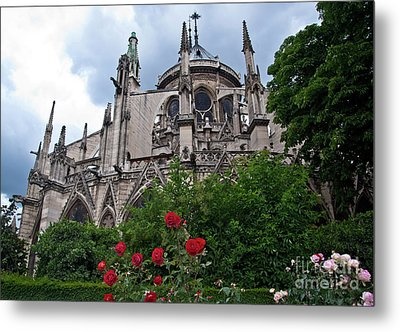 Notre Dame With Rose Garden Metal Print