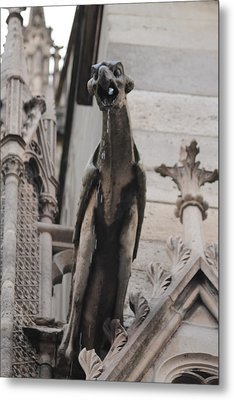 Metal Print featuring the photograph Rain Spouting Gargoyle. by Christopher Kirby