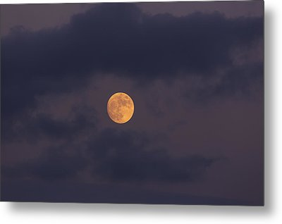 November Full Moon With Plane Metal Print by Angela A Stanton