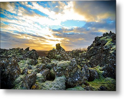 November Light Over Icelandic Lava Field Metal Print