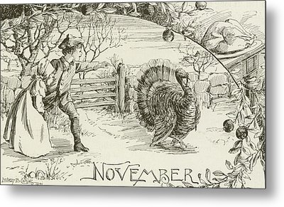 November   Vintage Thanksgiving Card Metal Print by American School