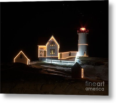 Nubble At Night Metal Print by Patrick Fennell
