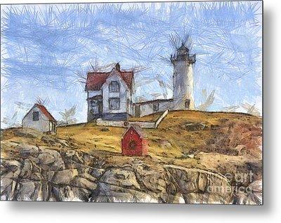 Nubble Light Cape Neddick Lighthouse Sohier Park York Maine Pencil Metal Print by Edward Fielding