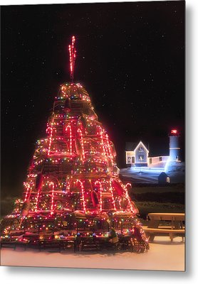 Nubble Lighthouse And The Lobster Trap Tree - York Maine Metal Print by Joann Vitali