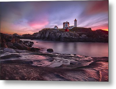 Nubble Lighthouse At Sunrise York Me Metal Print by Betty Denise