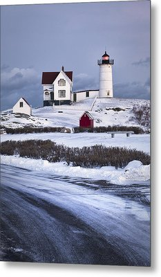 Nubble Lighthouse In The Snow Metal Print by Eric Gendron