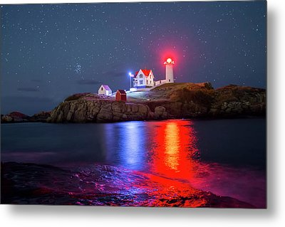 Nubble Lighthouse Reflection Metal Print
