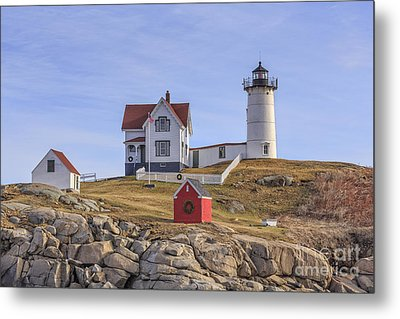 Nubble Lighthouse York Maine Metal Print by Edward Fielding