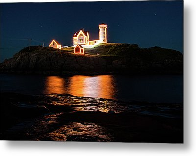 Metal Print featuring the photograph nubble Lighthouse, York Maine by Jeff Folger