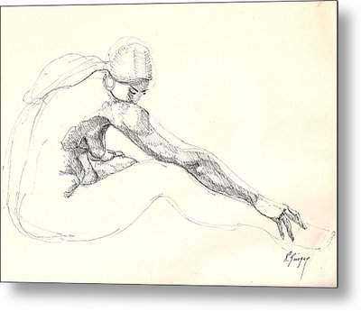 Metal Print featuring the drawing Nude 10 by R  Allen Swezey