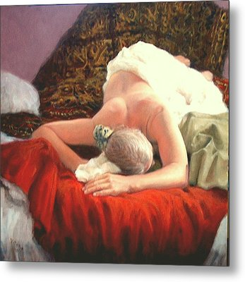 Metal Print featuring the painting Nude At Rest 1 by Donelli  DiMaria