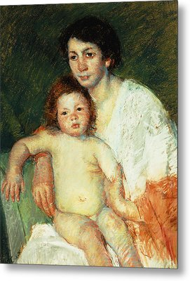 Nude Baby On Mother's Lap Resting Her Right Arm On The Back Of The Chair Metal Print