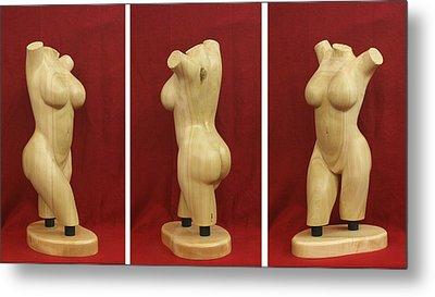 Nude Female Wood Torso Sculpture Roberta    Metal Print by Mike Burton