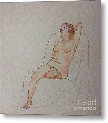 Nude Life Drawing Metal Print