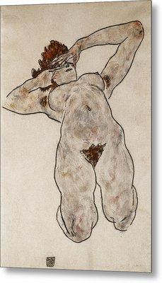 Nude Lying Down Metal Print by Egon Schiele