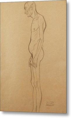 Nude Man Metal Print by Gustav Klimt