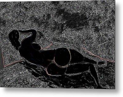 Nude Model Derriere Black  Metal Print by Carlos Camus