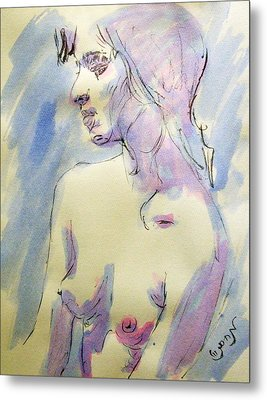 Nude Portrait Drawing Sketch Of Young Nude Woman Feeling Sensual Sexy And Lonely Watercolor Acrylic Metal Print by M Zimmerman