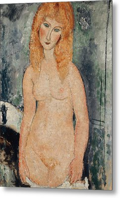 Nude Standing Metal Print by Amedeo Modigliani
