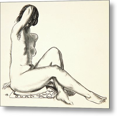 Nude Study, Girl Sitting On A Flowered Cushion Metal Print by George Wesley Bellows