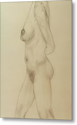 Nude Torso Standing Metal Print by Rand Swift