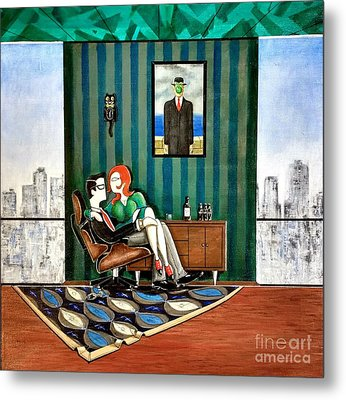 Executive Sitting In Chair With Girl Friday Metal Print by John Lyes
