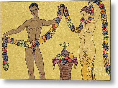 Nudes  Illustration From Les Chansons De Bilitis Metal Print by Georges Barbier